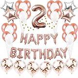 2歳 誕生日 飾り付け バルーン Happy Birthday 風船 パーティー 装飾 バースデー 飾り セット JM020A