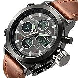 (クコル)Cucol 腕時計 メンズ デジタル クォーツ レザーストラップ付き ブラウン色