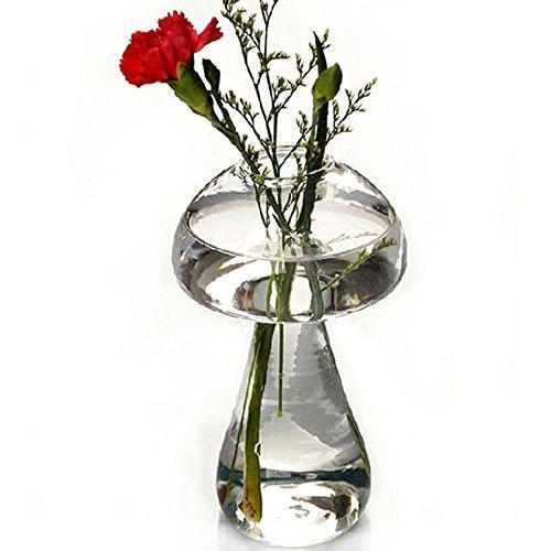 かわいい ガラス花瓶 きのこ形 透明 ボトル 花 植物 水栽...