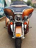 【HOZAN正規新品】組み合わせライト(7インチCREE製LED ヘッドライト+4.5インチCREE製LEDフォグランプ)天使眼ディタイムランニングライト付き Hi/Lo切り替え インナーブラック ハーレーバイクー対応 1年間保証付き