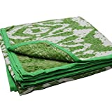 Virasat Exports- Kantha Baby Quilt Indian Handmade Bedding Throw Baby Blanket Cotton Multi Ikat Green 45x45 [並行輸入品]