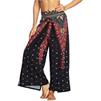 Lcoco&Dream Women's Wide Leg Boho Yoga Harem Pants Comfy Indian Thailand Bohemian Palazzo Pants