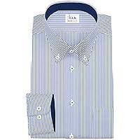 ワイシャツ 軽井沢シャツ [A10KZB312]ボタンダウン 純綿 ネイビーストライプ らくらくオーダー受注生産商品