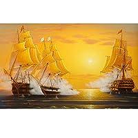Ljjlm 調査の居間のソファーの背景の壁の壁画のためのHdの金油絵の帆船の写真の壁紙-420X280cm