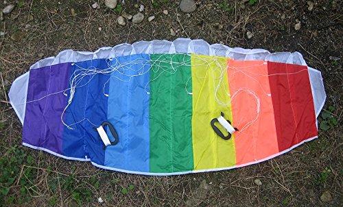 レインボーカラー 虹色のパラグライダー凧スポーツカイト 骨なし フォイルカイト/凧糸2本付/ハンドリングパラシュート型