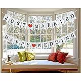【陌の街角】結婚式 2組セット ウェディング ガーランド 結婚撮影小物 壁飾り ハッピーウェディング 飾り(HAPPY WEDDING /JUST MARRIED)) (2組セット)