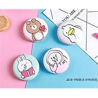 HuaQingPiJu-JP ミニラウンドポータブル動物パターンガラスミラーサークル工芸装飾化粧品アクセサリー