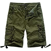 WenVen Men's Loose fit Cotton Cargo Shorts