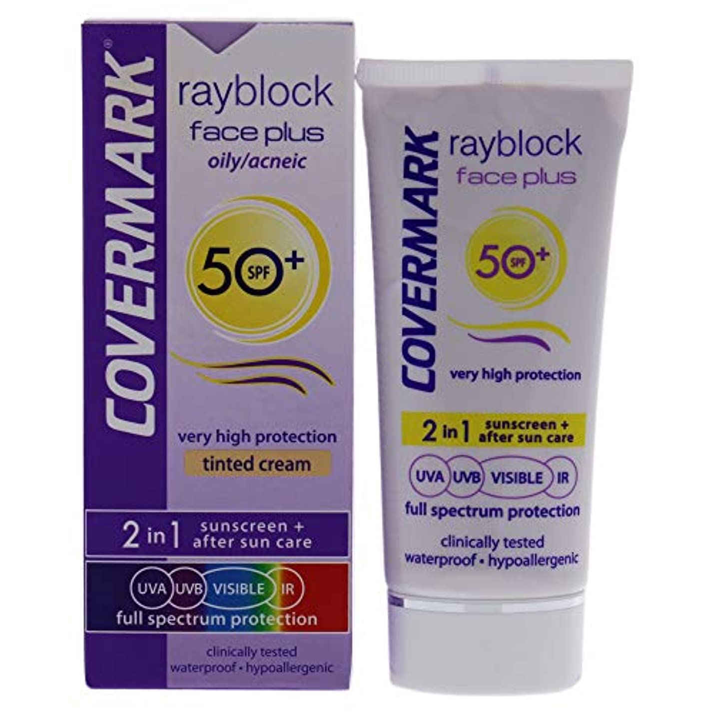 治すテンション慰めRayblock Face Plus Tinted Cream 2-in-1 Waterproof SPF 50 - Oily Skin-Light Beige