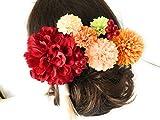大人可愛い赤ダリアの花かんざし9点セット*着物浴衣髪飾り*ヘア飾り*結婚式成人式七五三*タッセル付*和装