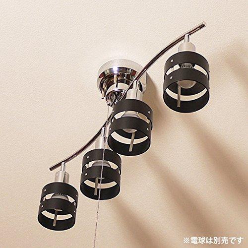 4灯シーリングスポットライト・クロームメタルフレーム・2環ウッドシェード 【シェードカラー:ブラック】