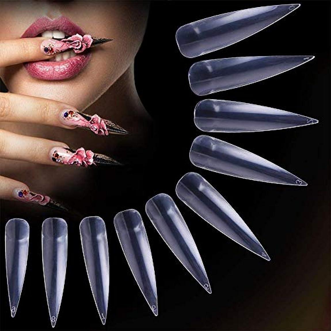 ギネススリムアラブつけ爪 ネイルチップ ロング 薄い デザインクリア 付け爪練習用 ネイルアートキット 偽爪 500枚