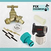 FixtheBog 20 mm MDPEキット、屋外用、壁掛け式、プラスチック製蛇口、ガーデンホース用継手付き[&NAZ]