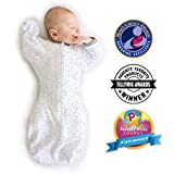 Amazing Baby Transitional Swaddle Sack with Arms Up Mitten Cuffs, Confetti, Sterling, Medium, 3-6 Months (Mom's Choice Award Winner)