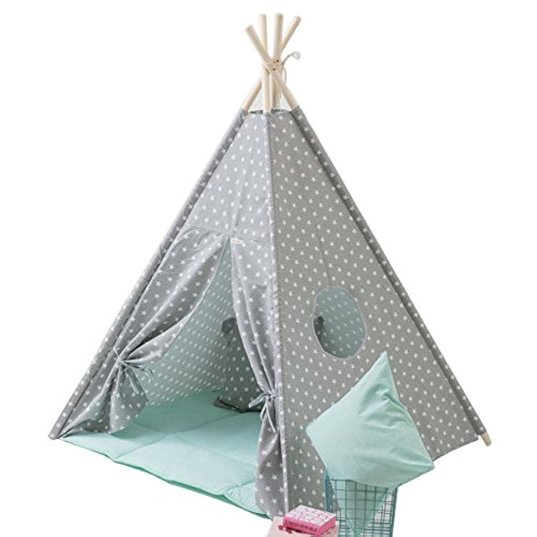 グレー小さな星デザインキッズテントインドティーピー子供劇場子供プレイルームのテント小屋 (座布団を持って)