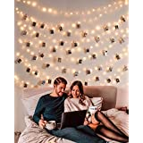 Photo Clip String Lights 33Ft - 100 LED Fairy String Lights with 50 Clear Clips for Hanging Pictures, Photo String Lights wit