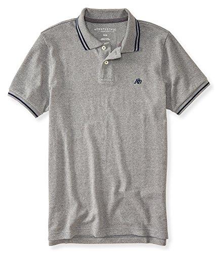 (エアロポステール)AEROPOSTALE 半袖ポロシャツ A87 Tipped Logo Piqué Polo ミディアム ヘザー グレー Medium Heather Grey (XXL) [並行輸入品]