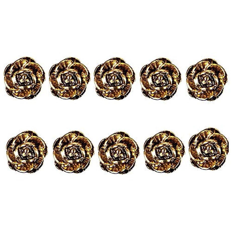 とても王族系譜マニキュアロージーデザインネイル合金アクセサリーツールのための10個入りの3Dネイルジュエリーアートデコレーションネイルズグリッターラインストーン