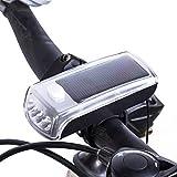 WALKTOROCK USB充電式ソーラーLEDライト 自転車ライト ヘッドライト 1200LM 省エネ 大音量ベル付き 簡単取り付け 自転車フロントライト
