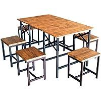 幅を3段階に調節できる!木目 折りたたみ ダイニングテーブル ワイドタイプ& スツール チェア 6脚 7点セット 鉄フレーム ブルックリン インダストリアル Butterfly&GLAIN