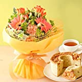 誕生日のプレゼント バラ 花コラボ ケーキ洋菓子 花とスイーツ お祝い 内祝い アレンジメント生花 フラワーギフト (オレンジの生花)