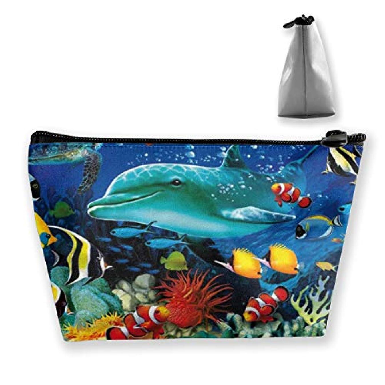 ペルセウスに勝る受けるJoycego 海中水中イルカ魚サンゴ日没ウミガメ 化粧品袋の携帯用旅行構造の袋の洗面用品の主催者