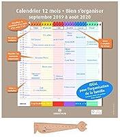 Oberthurファミリーカレンダー2018 2019インチよく整理+ 1定規木製のブックマークブルミエ