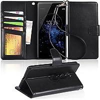 Xperia XZ2 Premium ケース 手帳型 XZ2 Premiumケース スマホケース 横置き機能 Arae カードポケット付き ソニー エクスペリアXZ2 プレミアム SO-04K au SOV38 対応用 財布型 ケース カバー(ブラック)