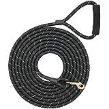 "Shorven Nylon Strong Dog Rope Lead Reflective Training Dog Leash with Soft Handle 8-20 FT Long Black (Dia:0.5"" 15FT)"