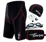 Vocni(ワクニー) メンズ 水着 フィットネス トランクス スイミング用品4点セット 競泳水着 スイミングゴーグル スイムキャップ ノーズクリップ 耳栓4点セット