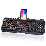 ゲーミングキーボード SmartPlus USBキーボード LEDバックライト メカニカル触感 防水防塵 有線キーボード 人間工学 (106キー)