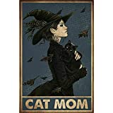 Witch Cat Lovers Cat Mom Metal Tin Poster Indoor & Outdoor Home Bar Coffee Kitchen Wall Decor Halloween Painting Metal Plate