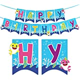 Baby Shark Happy Birthday Banner Party Decorations for Kids Birthday Supplies