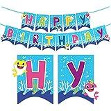 誕生日バナー 可愛いサメ 動物 happy birthday 子供 大人 誕生日飾り 出産 100日お祝い 誕生日パーティー飾り付け カスタマイズされた商品
