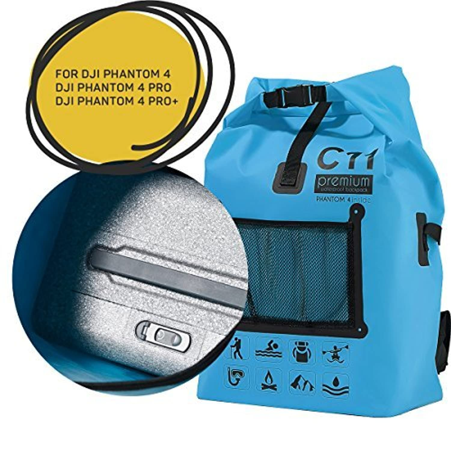 Backpack for DJI Phantom 4/DJI Phantom 4 Pro/DJI Phantom 4 Pro+ Premium Blue Waterproof Water Resistant Bag Rucksack Knapsack by C11 [並行輸入品]