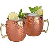 Yoifo 550ML モスクワ ミュールマグカップ 銅のメッキしてあるステンレス製 手作り カクテルマグカップ 冷たいビール、アイスコーヒー、アイスティー、任意のウォッカなどに最適 固い 漆塗り (2pack)