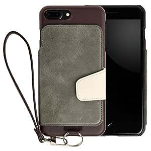 <iPhone 7 Plus用> RAKUNI (ラクニ) 本革 背面ポケット型ケース(アマゾン)前面むきだし/ストラップ付き/スタンド機能/財布がわりに(緑&濃茶)