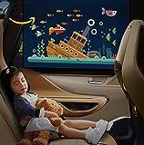 VIYOR 車用カーテン 日よけ 後部座席 車窓サンシェード 可愛い UVカット カーテン サカナ 2枚入り