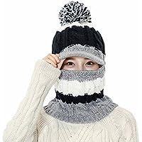 レディース 目出し帽 両用 ニット帽子 裏ボア 可愛い 防風 防寒 フェイス マスク ネックウォーマー ボンボン付き アウトドア用 帽子 おしゃれ