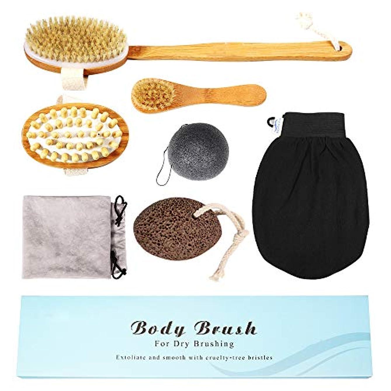 ゴールド比べるいくつかのリンパドレナージとセルライト治療のためのプレミアムドライブラッシングボディブラシセット、イノシシ毛ブラシ、ロングハンドルボディブラシ