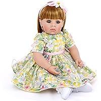20インチ 欧米大人気 リアル 女の子 人形 着せ替えはできる ドール 安全ビニール製 子ども おもちゃ ぬいぐるみ 西洋風 レトロ調 子供への誕生日プレゼントに最適 (花柄チェック柄ドレス)