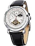 KS ラグジュアリー トゥールビヨン デイ・ナイト表示機能付き 自動巻き 本革バンド メンズ 腕時計KS069