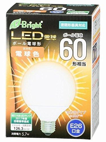ボール電球形 E26 60形相当 電球色 5.7W 720lm 全方向 127mm OHM 密閉器具対応 LDG6L-G AG22 06-3378