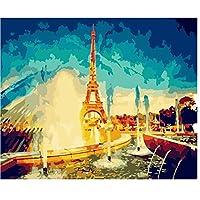 Diyの油絵ペイントカラフルな抽象タワー風景キャンバスプリント壁アートホーム飾るブラシで組み立てられた大人子供初心者ギフト40X50Cm
