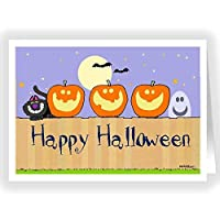 Happy Halloween - Pumkins on a Fence Greeting Card - 18 Cards & 19 Envelopes