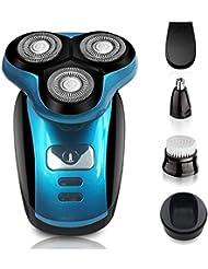 4-in-1電気かみそり、ウェット&ドライ充電式メンズロータリーシェーバー、防水IPX7付きコードレス5フローティング5ヘッド、ひげ、鼻、耳、ボディヘアトリマー、フェイスクリーニングブラシ