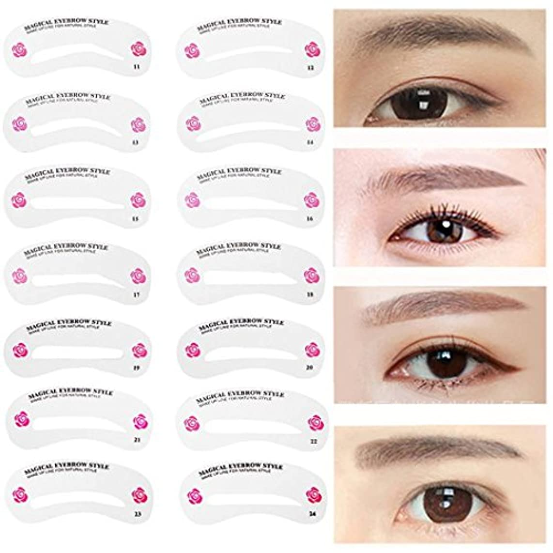 ケント治療スリンクMNoel 24種類 眉毛テンプレート24枚セット 太眉対応 24パターン 眉毛を気分で使い分け 眉用ステンシル