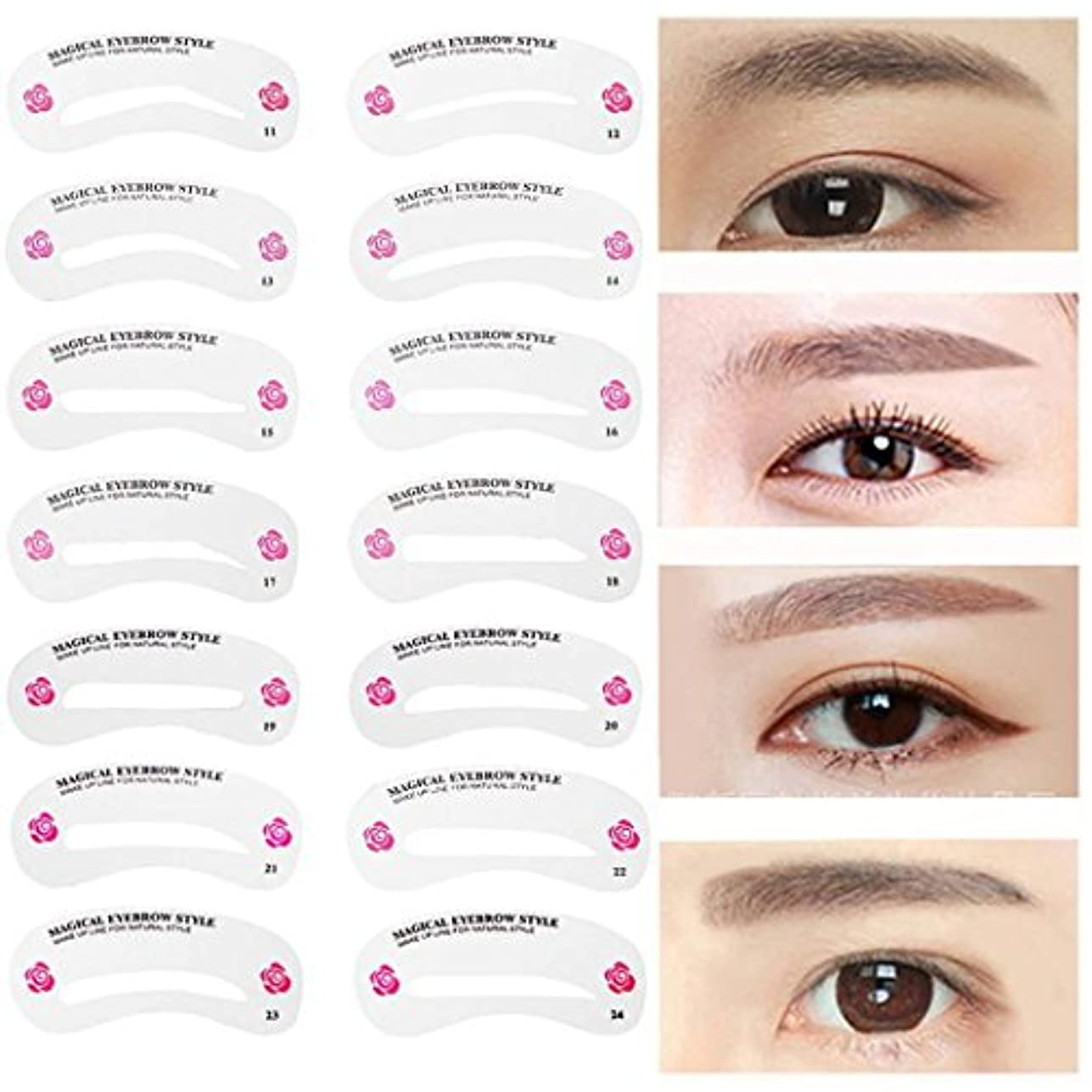 経験虚栄心能力MNoel 24種類 眉毛テンプレート24枚セット 太眉対応 24パターン 眉毛を気分で使い分け 眉用ステンシル