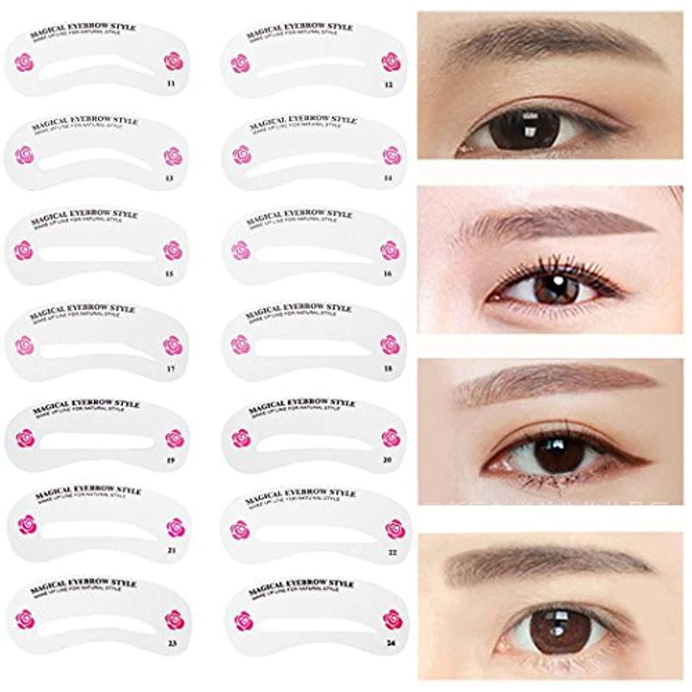 お祝い空いている宗教MNoel 24種類 眉毛テンプレート24枚セット 太眉対応 24パターン 眉毛を気分で使い分け 眉用ステンシル