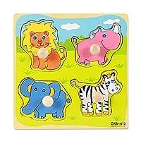 POOM子供の手のグラブボード 3D パズル木のおもちゃ漫画の動物の木製ジグソーパズル幼児早期教育学習おもちゃパズル 知育
